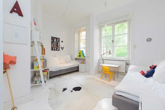 All white kids bedroom, Beautiful minimal white kids bedroom decor