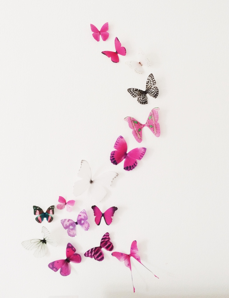 Heidi's Hubbub 3D pink butterfly wall art