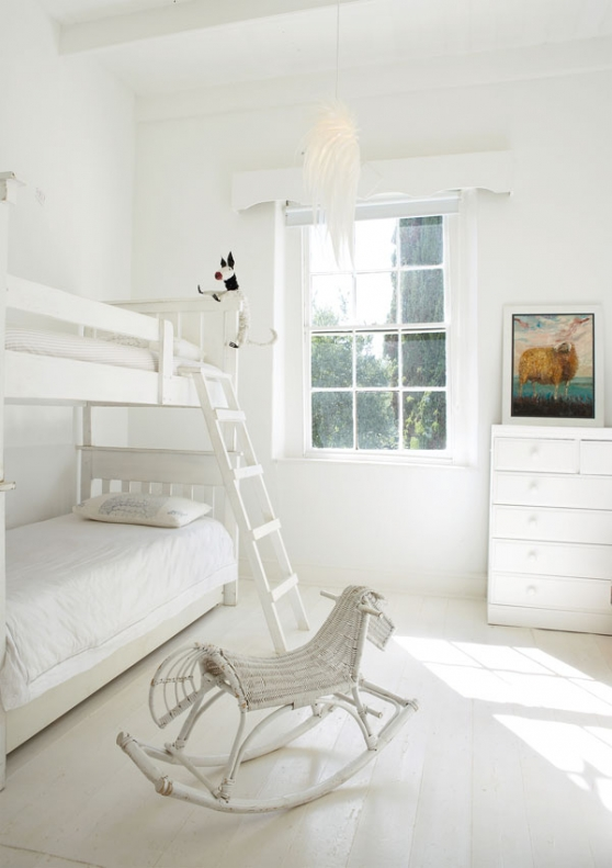 All white kids bedroom decor, white bunk beds in white kids bedroom