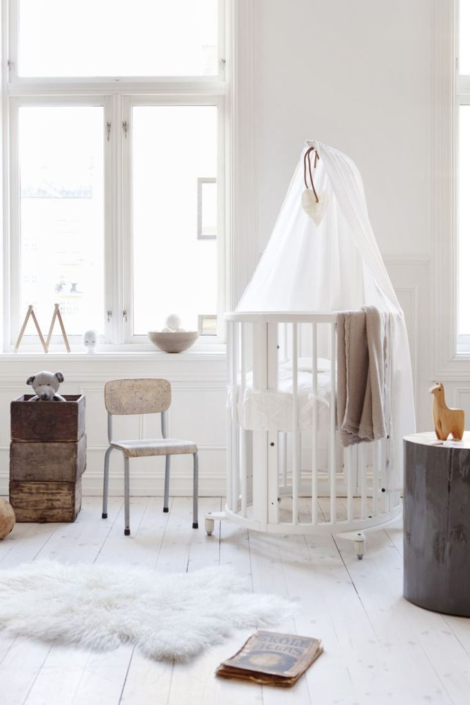 White Nursery with Stokke Crib, All white nursery, White Stokke Crib