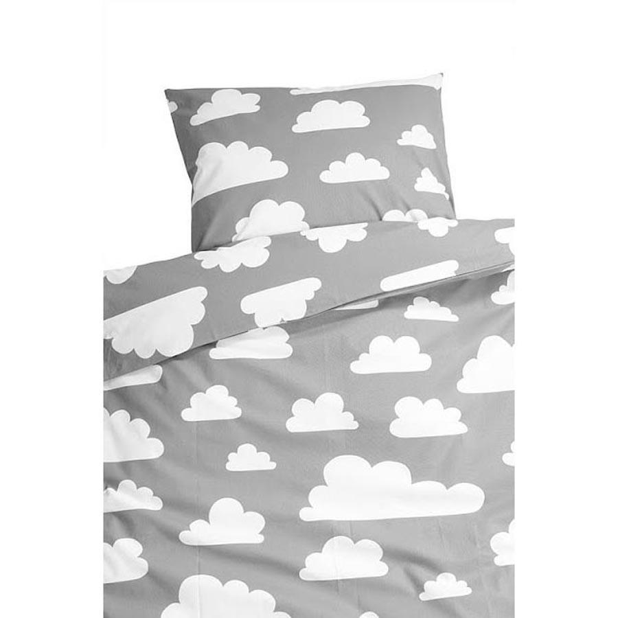 Farg & Form Moln Clouds Duvet Set Grey, Grey kids duvet set, grey cotton duvet set