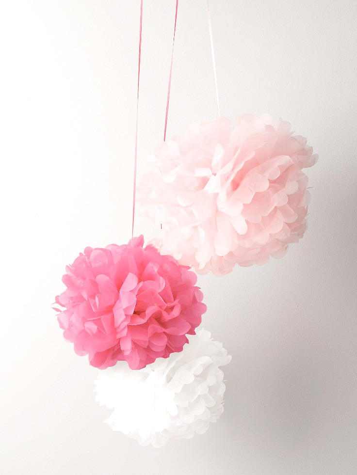 Pink tissue paper pompoms, The White Company pink pompoms, pink pompoms