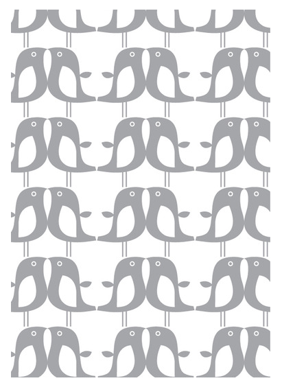 Penguin print wallpaper, silver print wallpaper, grey print children's wallpaper, ISAK wallpaper