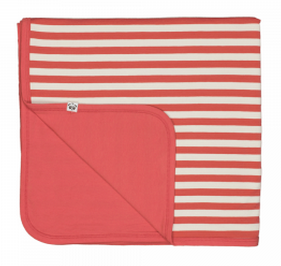 Panda and the Sparrow bamboo blanket in coral and natural stripe
