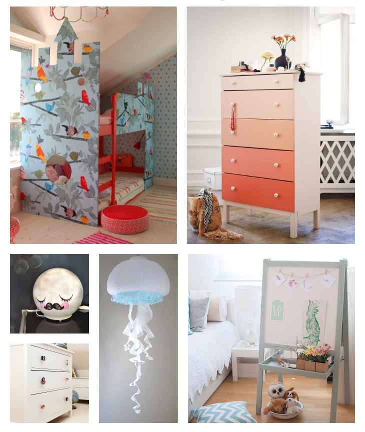 6 IKEA hacks for styling kids rooms on a budget. A post with links to 6 tutorials and how-to guides for creating beautiful furnishings and furniture from simple IKEA pieces.