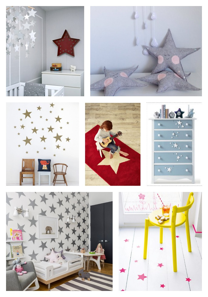7 ideas for using stars as decor kids room, star accessories for kids rooms, star decals, star wallstickers, star marquee light, star cushion