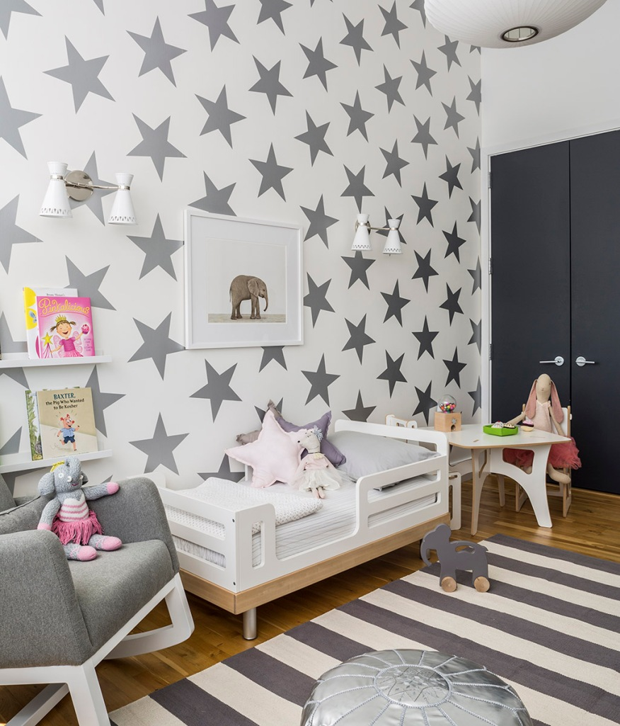 Lucky Star wallpaper in silver by Sissy and Marley from Jill Malek New York