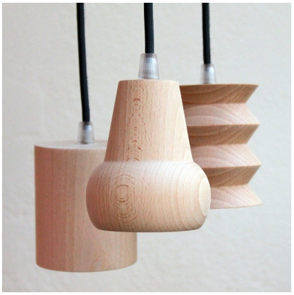 Kids room lighting, nursery lighting, Geometric Beech wood suspension lights, Cachette Beech wood suspension lights