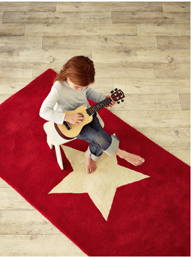 Star rug, red rug with cream star, Cox and Cox