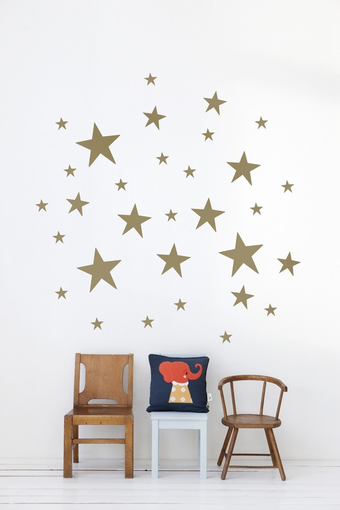 Ferm Living Stars Decal, Copper star decals from Ferm Living, Gold Star decal Ferm Living