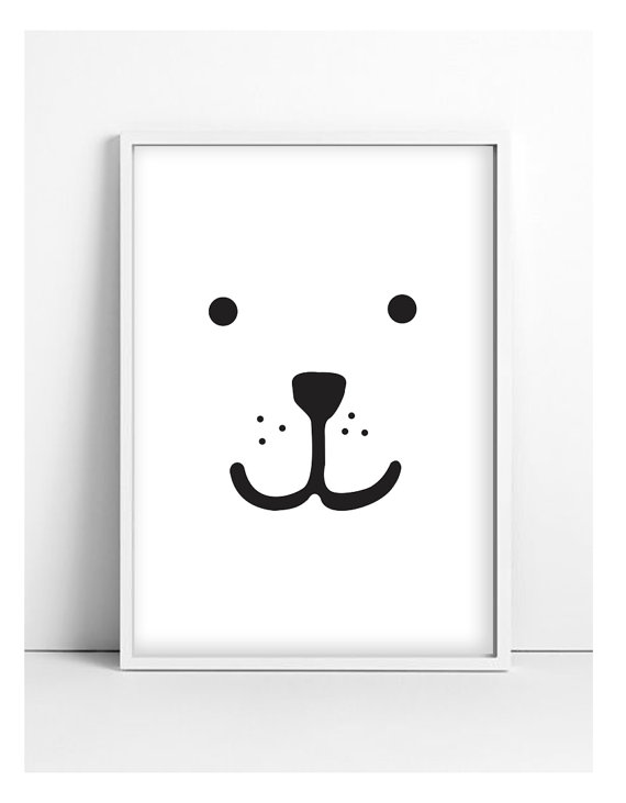 Black and white nursery print, black and white print in frame for baby nursery