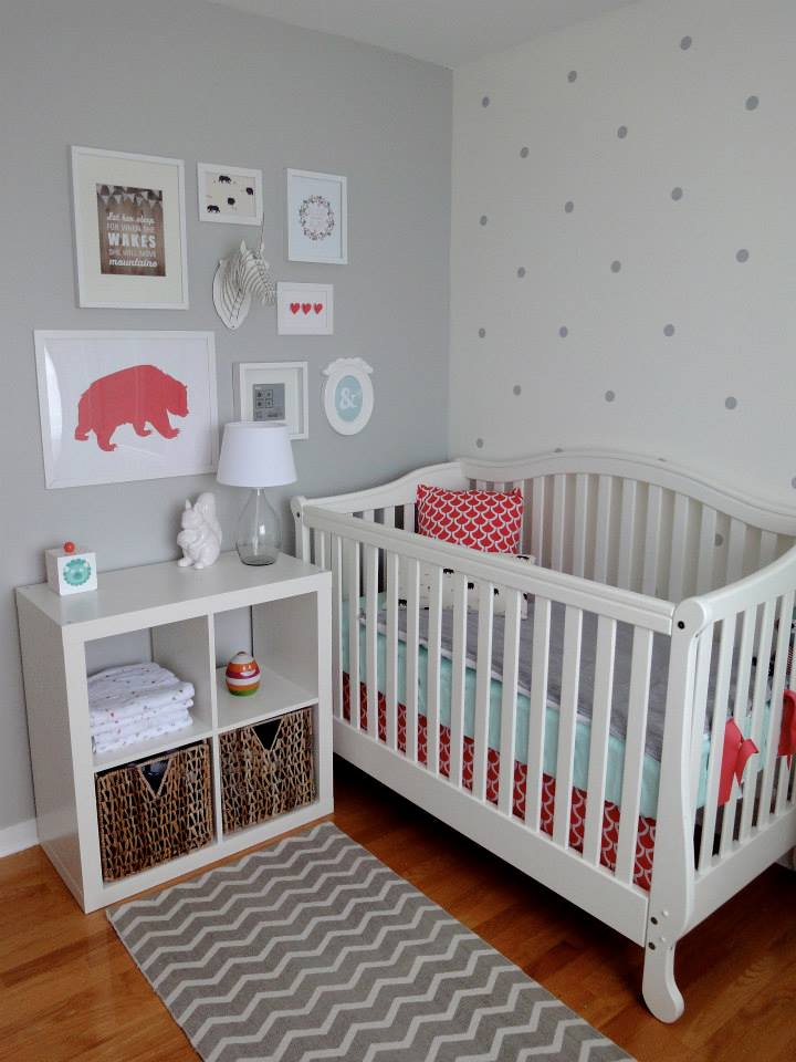Grey vinyl polka dots on white nursery wall
