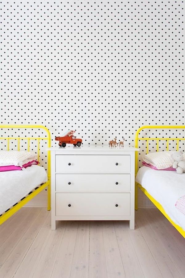 Small black polka dots on white wall paper kids room wallpaper