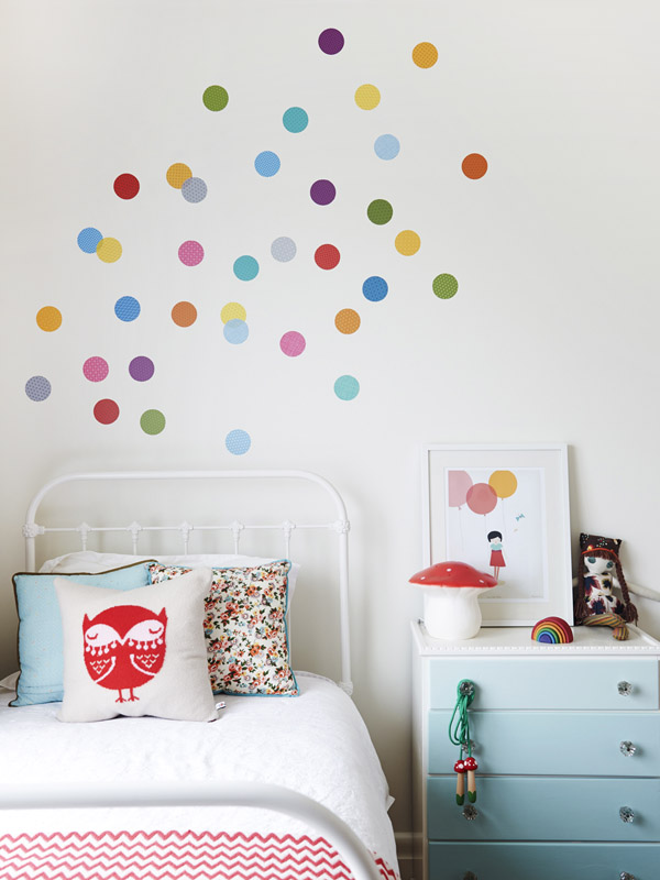 Rainbow polka dot wall stickers kids room or nursery