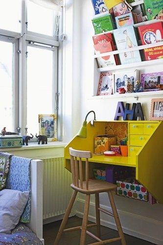 Wall hung desk, yellow desk, kids room style ideas, kids decor inspiration