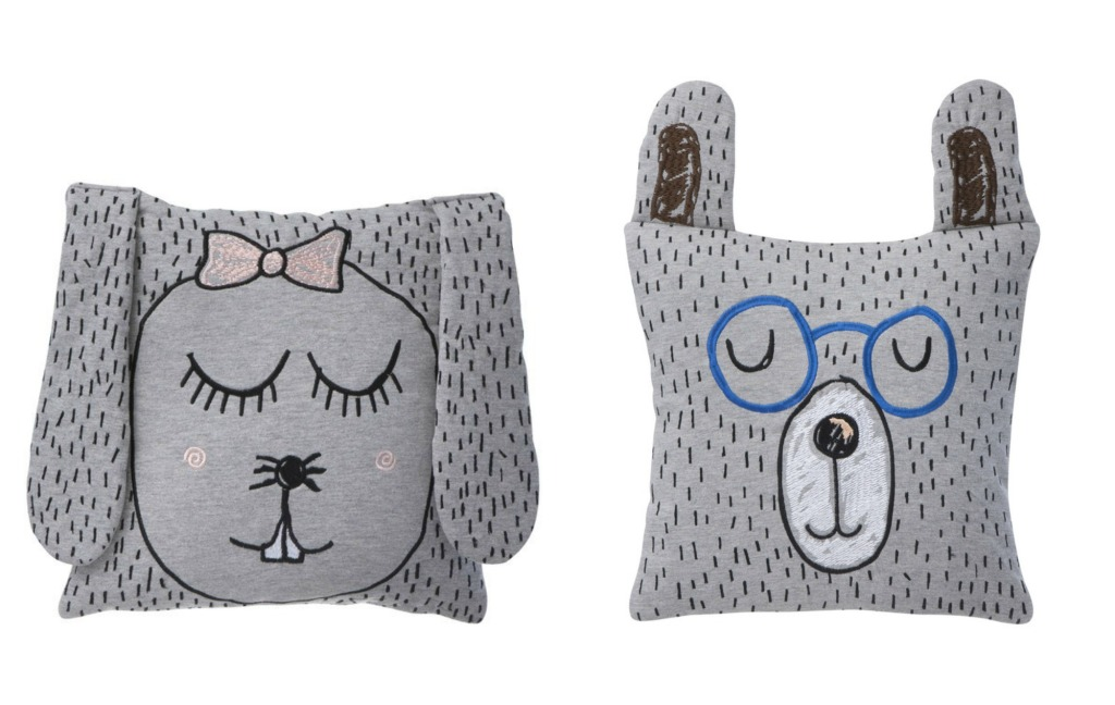 Little Miss Rabbit and Little Mr Teddy Cushions by Ferm Living